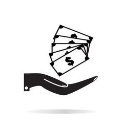 pictograph of money in hand on white background vector image vector image