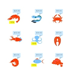 Seafood price icons set vector