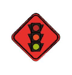 semaphore traffic lights warning sign vector image