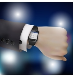 Smart watch on businessman hand eps10 vector image vector image