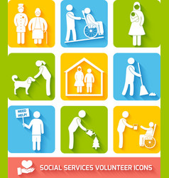 Social services icons set flat vector