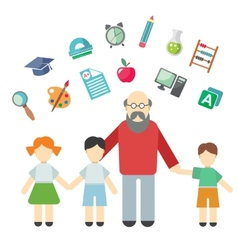 Teacher and children miscellaneous student in vector image