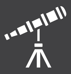 Telescope solid icon astronomy and science vector