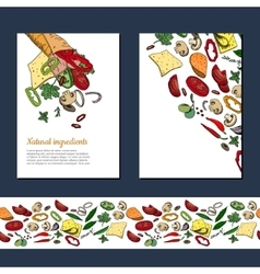 Template with ingredients for doner kebab wrap vector