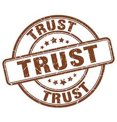 Trust brown grunge round vintage rubber stamp vector