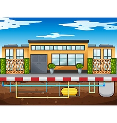 Water pipe running under the house vector