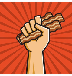 Fist full of bacon vector