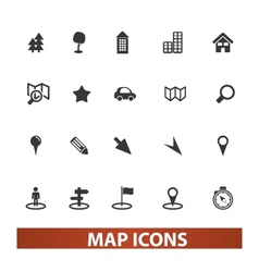 Map  navigation icons set vector