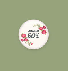 Glossy sale button or badge product promotions vector