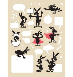 Rabbit cartoon silhouette symbols vector