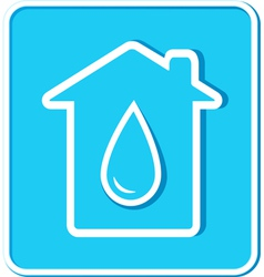 Blue sticker with water drop and house vector