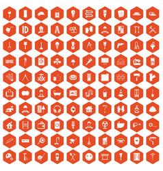 100 renovation icons hexagon orange vector