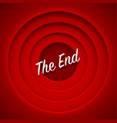 Screen movie the end red background vector
