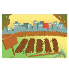 Sunset on a farm vector