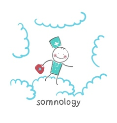Somnology flying in the sky in the clouds vector