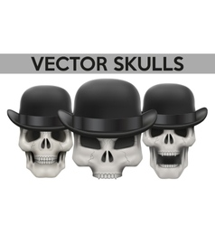 Set of human skulls with bowler hat vector