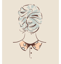 Beautiful woman hairstyle view from back vector