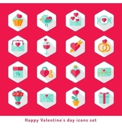 Valentine day icon set in flat vector