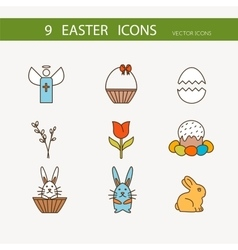 Collection of cute easter icons vector