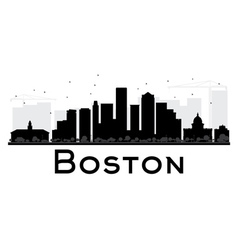 Boston city skyline black and white silhouette vector