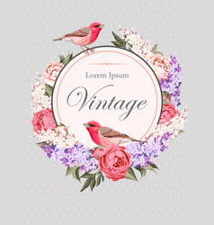 Vintage card with flowers and birds vector image