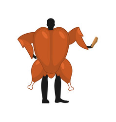 Baked turkey mascot man promoter man dressed as vector