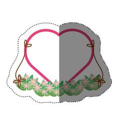 beautiful swing heart flower shadow vector image
