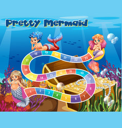 Boardgame template with mermaids underwater vector