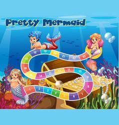 boardgame template with mermaids underwater vector image vector image
