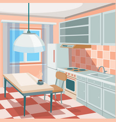 Cartoon of a kitchen interior vector