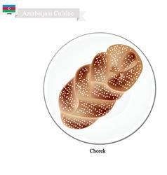 Chorek or azerbaijani sweet braided bread vector