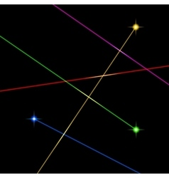 Color laser light set on black background vector