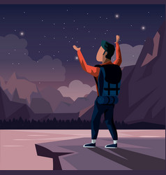 Colorful night landscape of climber man vector
