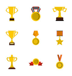 competition and success icons set flat style vector image vector image