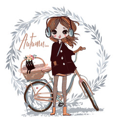 Cute autumn girl with cat vector