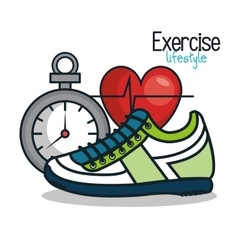 Exercise lifestyle icons sport design vector