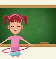 Girl student chalkboard sport vector