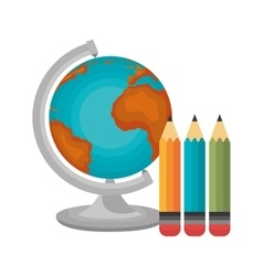 globe and three pencil graphic vector image