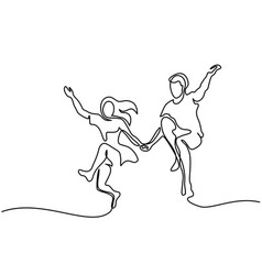 Happy jumping couple with guitar vector