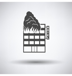 Hotel building in fire icon vector image