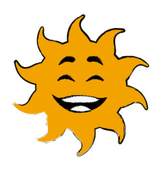 Laughing sun cartoon mascot character vector