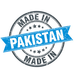 Made in pakistan blue round vintage stamp vector