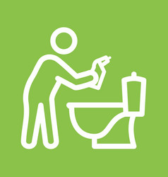 Man cleaning bathroom vector