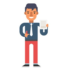 Man with pen and document in hands vector
