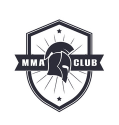 mma emblem logo with spartan helmet vector image vector image
