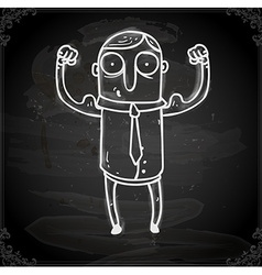 Muscle man drawing on chalk board vector
