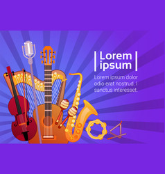 music instruments set banner with copy space vector image