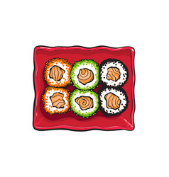 Plate of japanese sushi rolls sketch style vector