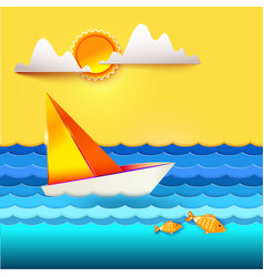 Sailboat and golden fish vector