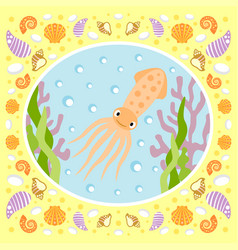 Sea background card with squid vector